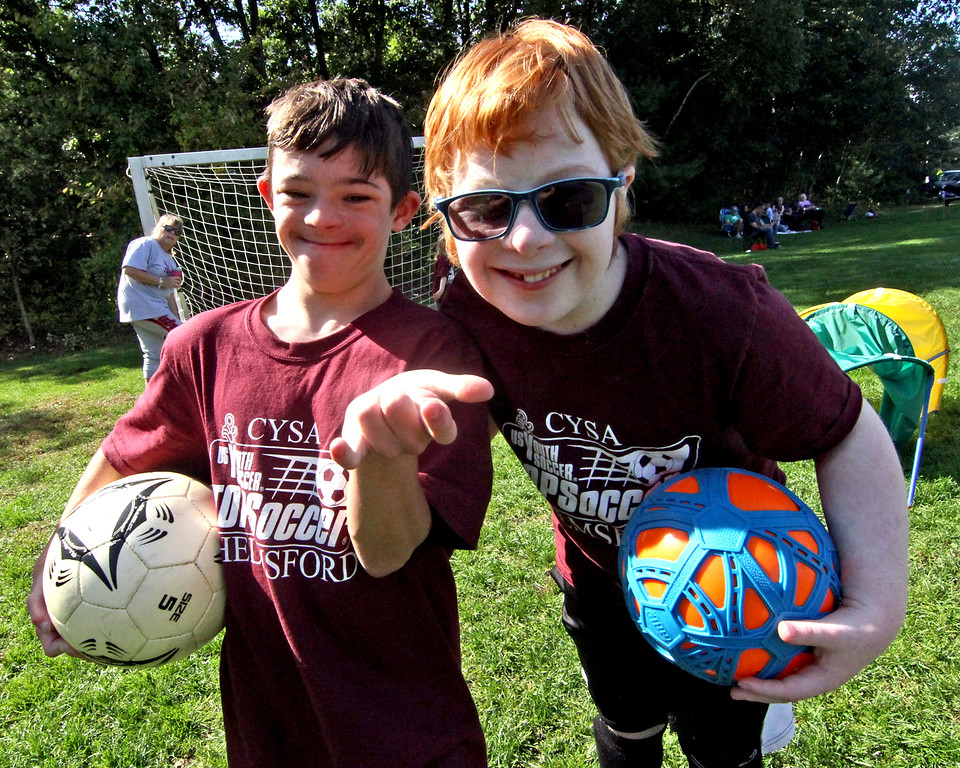 . Buddies and fellow player athletes at the Top Soccer camp is L-R, Nick Poulin and Sean Noone both 12 and from Chelmsford. SUN/David H. Brow