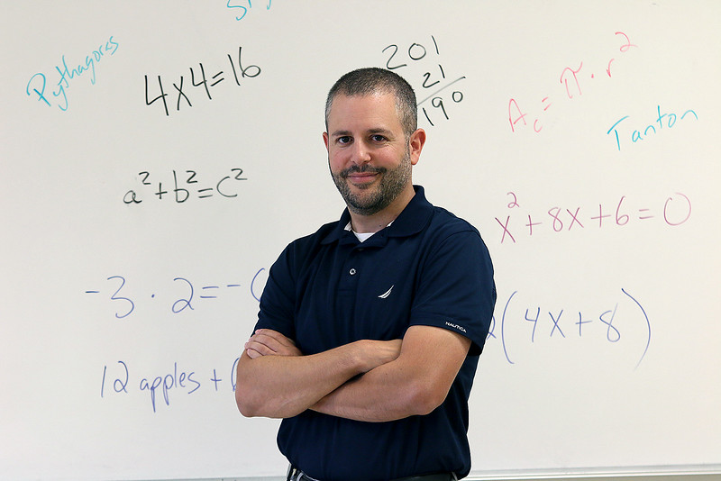 "Matthew Beyranevand, math and science curriculum coordinator for Chelmsford schools, known for his fun ""Math with Matthew"" videos, has written a new math education book, ""Teach Math Like This, Not Like That,"" that comes out next week.SUN/JOHN LOVE"