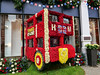 Flowered double decker London bus