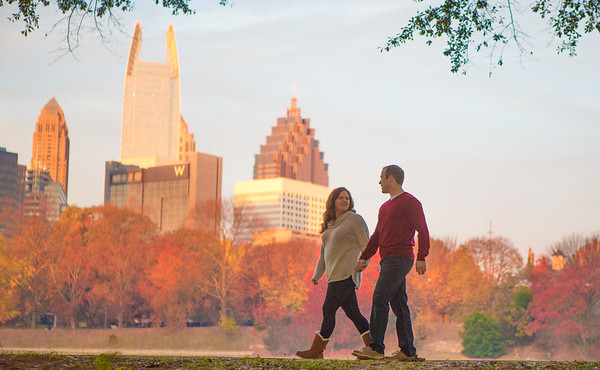 Chelsea and Patrick engagement photography at Piedmont Park