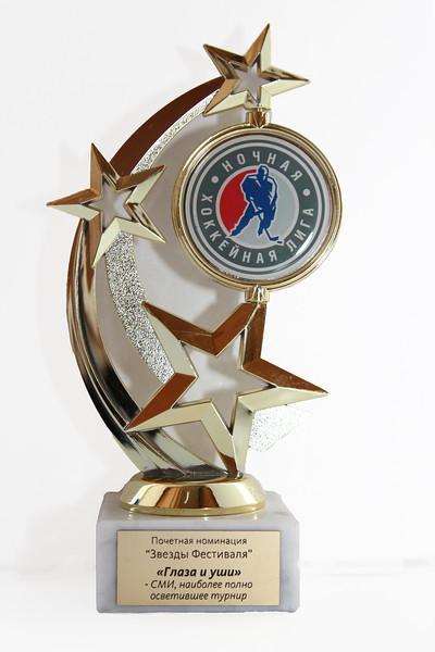 Интернет-портал 74hockey.ru получил приз в почетной номинации Звезды фестиваля по итогам второго всероссийского Фестиваля среди любительских команд Ночной хоккейной лиги, который прошел в мае 2013 года в городе Сочи