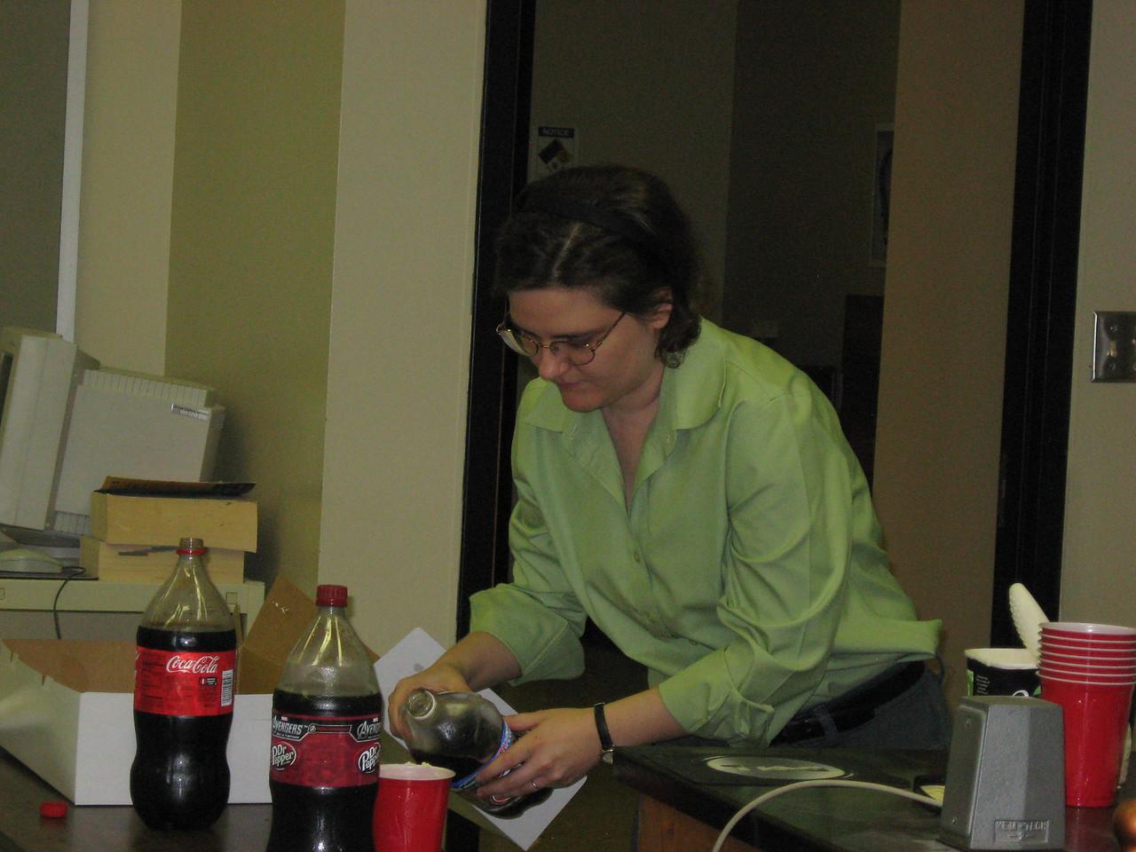 Dr. Crow getting ready to enjoy a soda float.