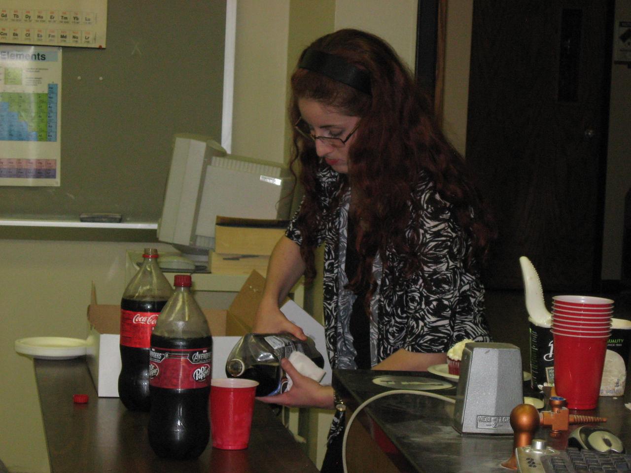 Michelle DuBois making a soda float.