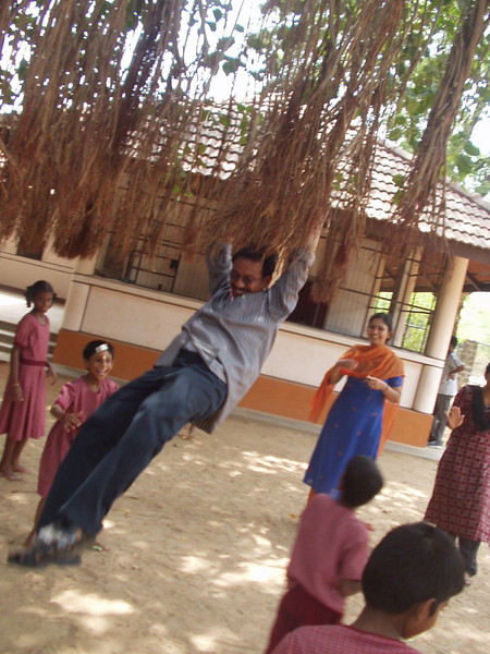 Sudhakar swinging from the banyan