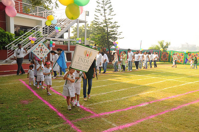 School sports day. The school name is INDUS.