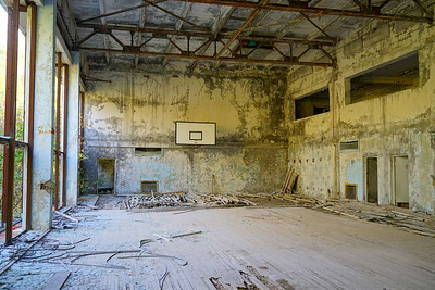 Broken down basketball court