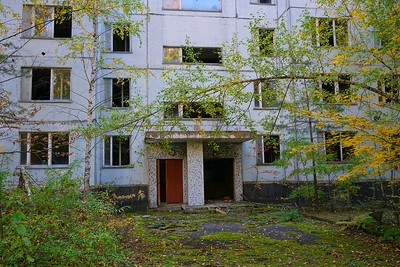 Abandoned building entrance