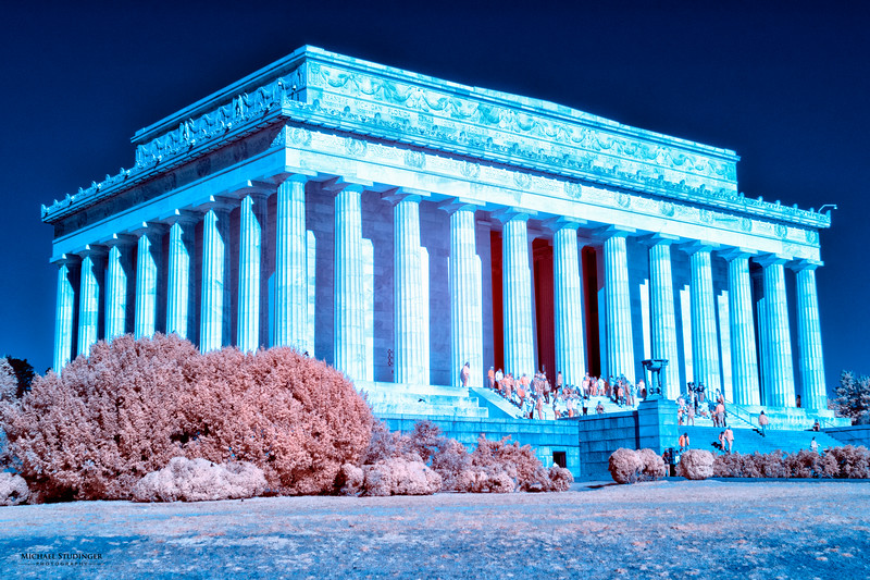 "The Lincoln Memorial ""seen"" in infrared converted to false colors."