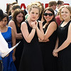 Members of a high school choir shiver in the cold before performing at the National Cherry Blossom Festival, Washington, DC, March 29, 2008.