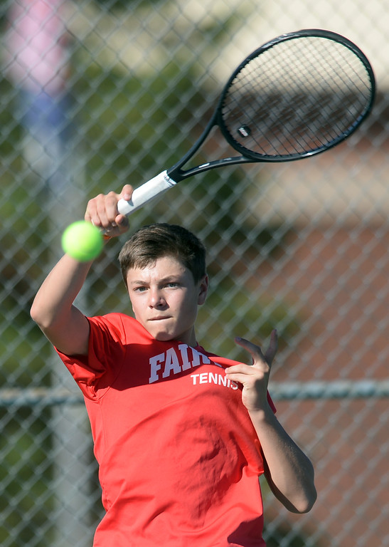 . BOULDER, CO - SEPTEMBER 12: Rodrigo Lopez-abada, no. 3 singles player for Fairview. Fairview High School played Cherry Creek in Boy\'s tennis in Boulder on September 12, 2018. (Photo by Cliff Grassmick/Staff Photographer)