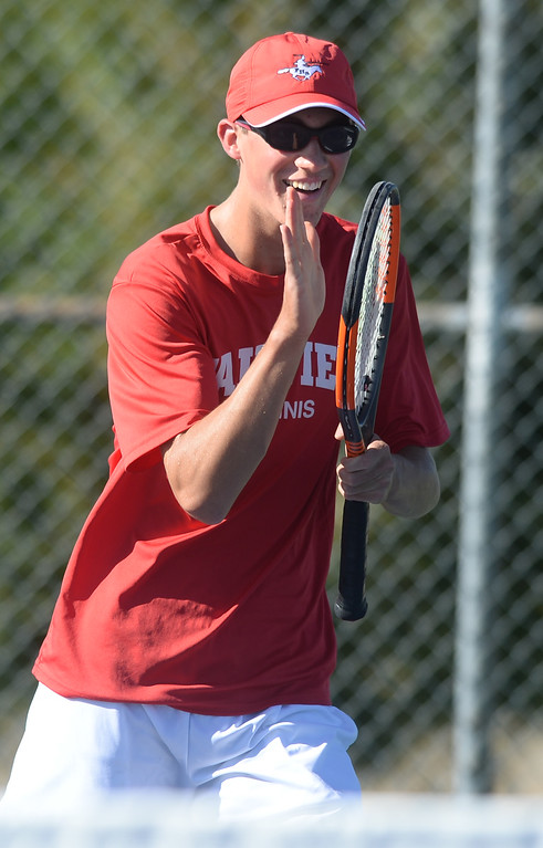 . BOULDER, CO - SEPTEMBER 12: Brody Pinto, no. 1 doubles player for Fairview.  Fairview High School played Cherry Creek in Boy\'s tennis in Boulder on September 12, 2018. (Photo by Cliff Grassmick/Staff Photographer)