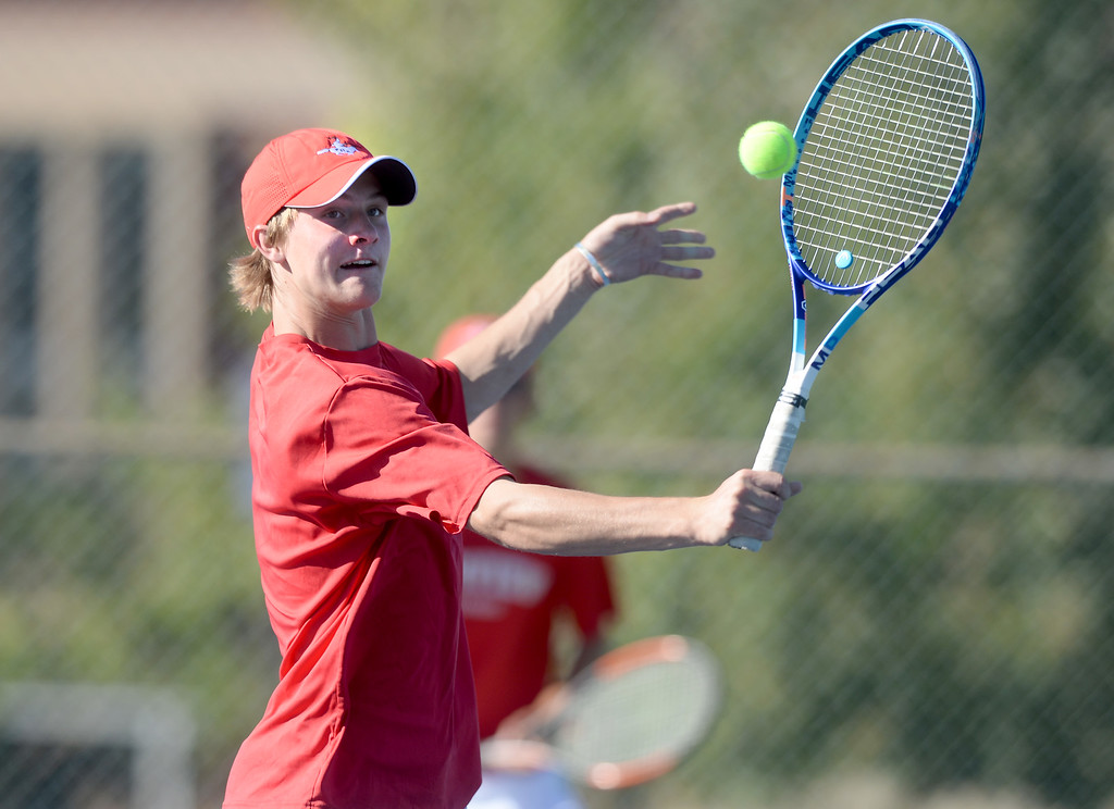 . BOULDER, CO - SEPTEMBER 12: Beck Chrisbens, no. 1 doubles player for Fairview. Fairview High School played Cherry Creek in Boy\'s tennis in Boulder on September 12, 2018. (Photo by Cliff Grassmick/Staff Photographer)