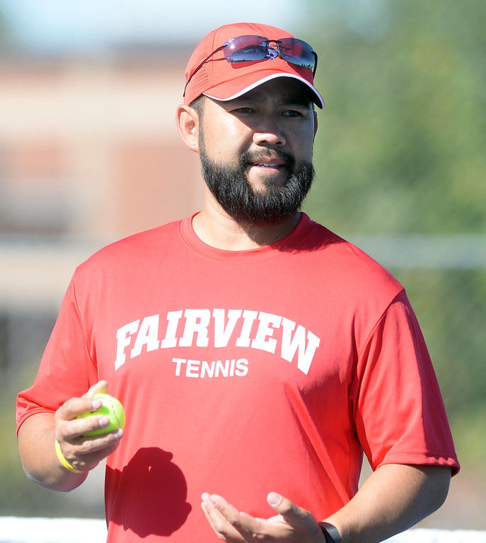 . BOULDER, CO - SEPTEMBER 12: Fairview boy\'s tennis coach, Chad Tsuda. Fairview High School played Cherry Creek in Boy\'s tennis in Boulder on September 12, 2018. (Photo by Cliff Grassmick/Staff Photographer)
