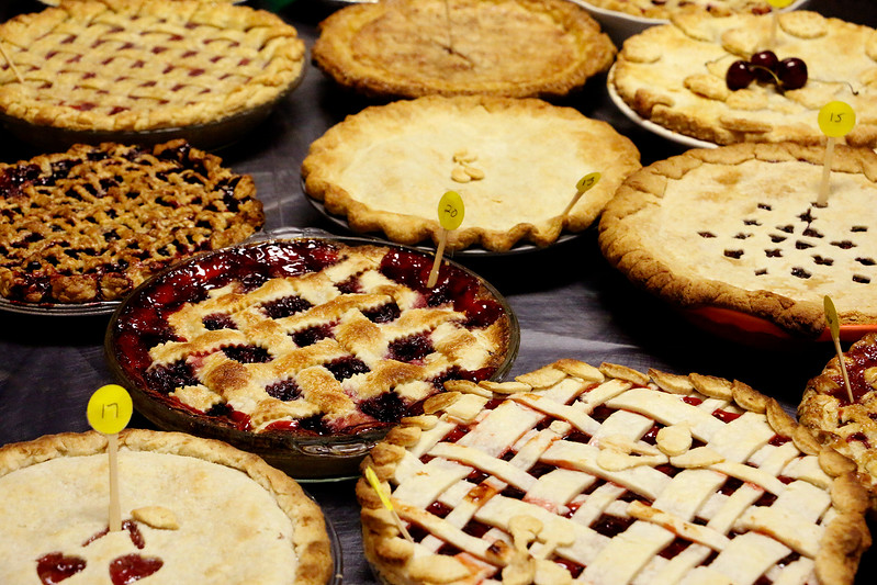 32 homemade pies wait to be judged in the Cherry Pie Festival in Loveland on Saturday, July, 8, 2017. 200 pies were up for served to the public. (Michelle Risinger/ Loveland Reporter-Herald)