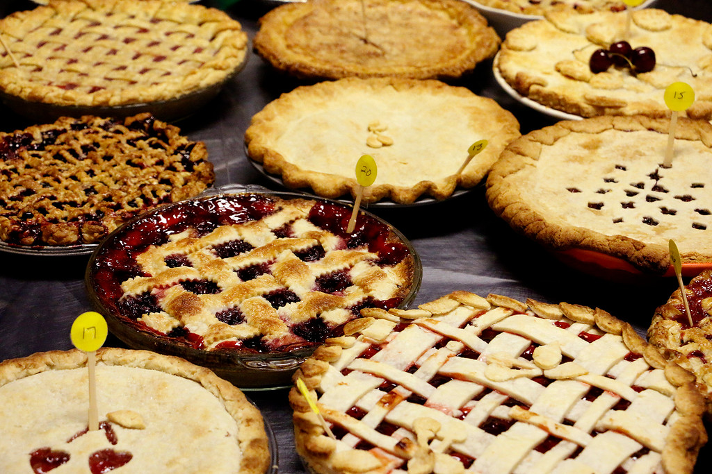 . 32 homemade pies wait to be judged in the Cherry Pie Festival in Loveland on Saturday, July, 8, 2017. 200 pies were up for served to the public. (Michelle Risinger/ Loveland Reporter-Herald)