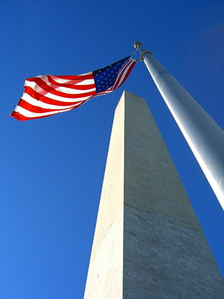 Bottom up view of the Washington Monument.