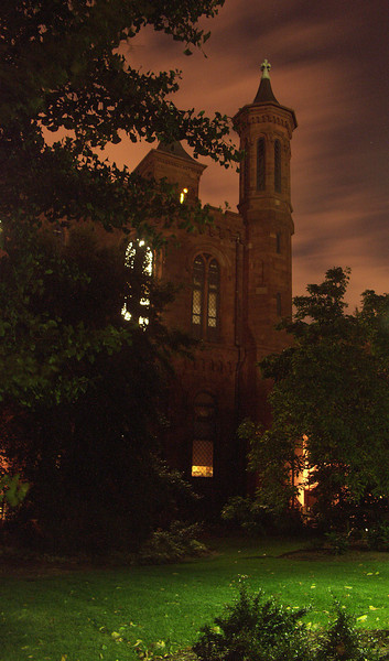 Smithsonian Castle at Night.