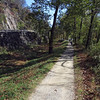 Dry-laid stone berm wall separated C&O Canal from Harpers Ferry Rd
