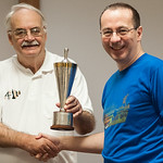Roger Edwards present Division Two trophy to Richard Webb