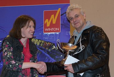 ? (Winton Capital) presents GM John Nunn with The BCPS Trophy for British Champion.