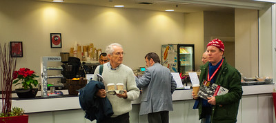 The cafeteria area supplied a range of coffees and large biscuits