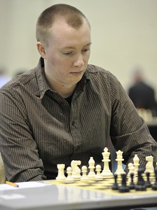Tim Seymour in play during round four of the FIDE Open.