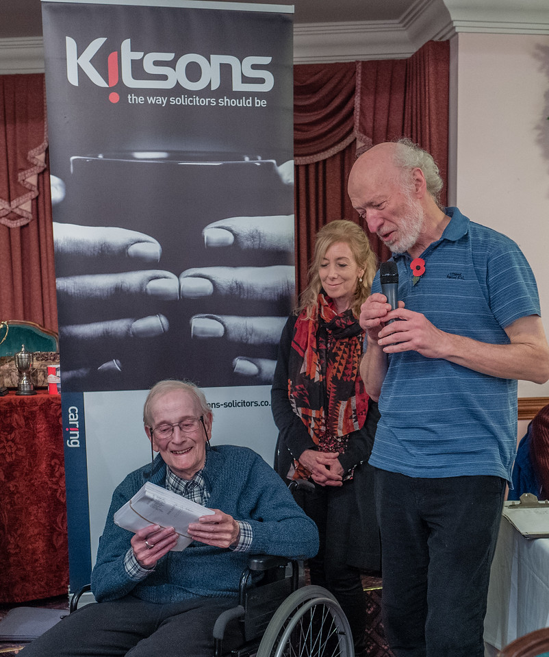 "Bill Frost, ""Chess Devon"" webmaster, is presented with a set of score sheets !?"