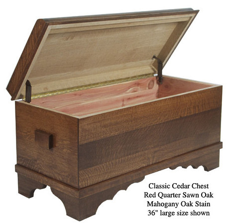 "Classic Cedar Chest 36"" - Red Quarter Sawn Oak with Mahogany Oak Stain"