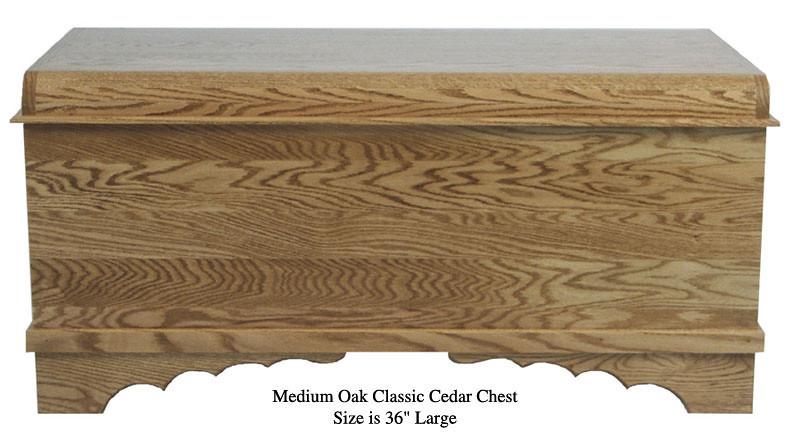 "Classic Cedar Chest 36"" - Medium Oak"