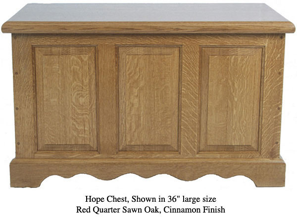 "Hope Chest 36"" - Red Quarter Sawn Oak w/ Cinnamon Finish"