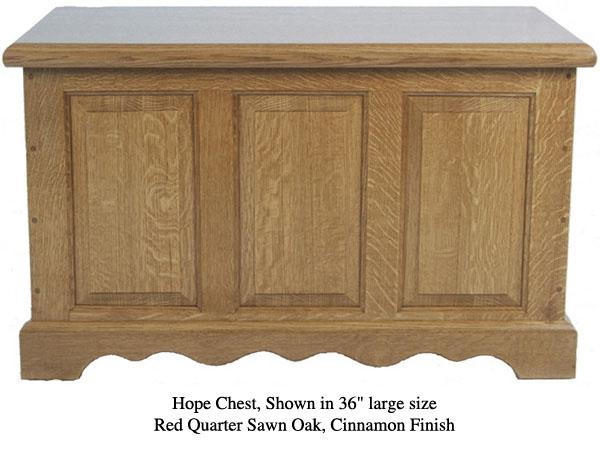 "Hope Chest 36"" - Red Quarter Sawn Oak w/ Cinnamon Finish"