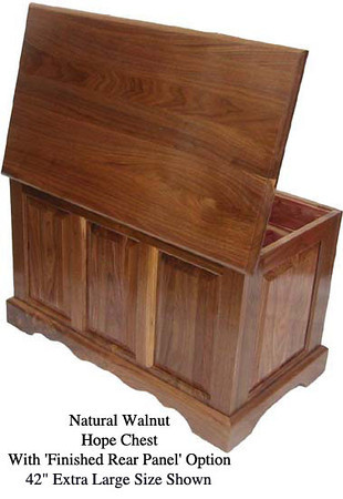 """Hope Chest 42"""" - Natural Walnut w/ Finished Rear Panel"""