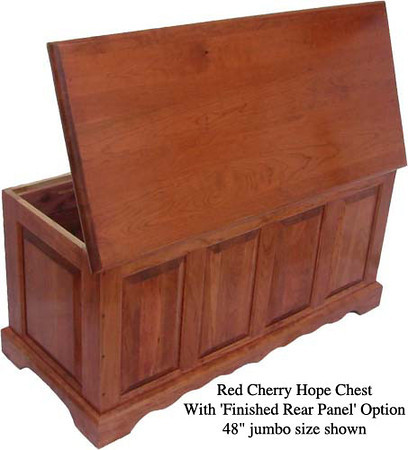 "Hope Chest 48"" - Red Cherry w/ Finished Rear Panel"