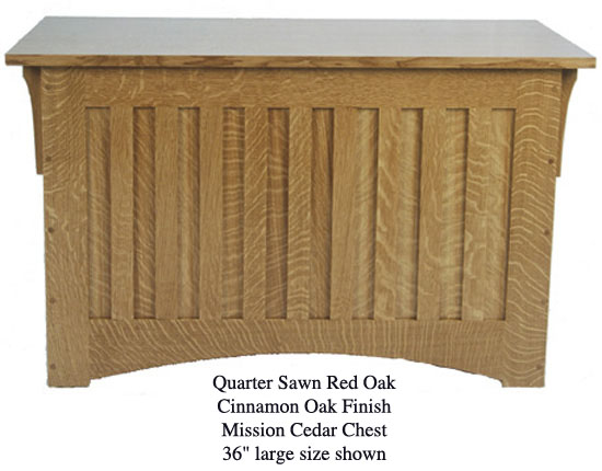 "Mission Chest 36"" - Quarter Sawn Red Oak w/ Cinnamon Finish"