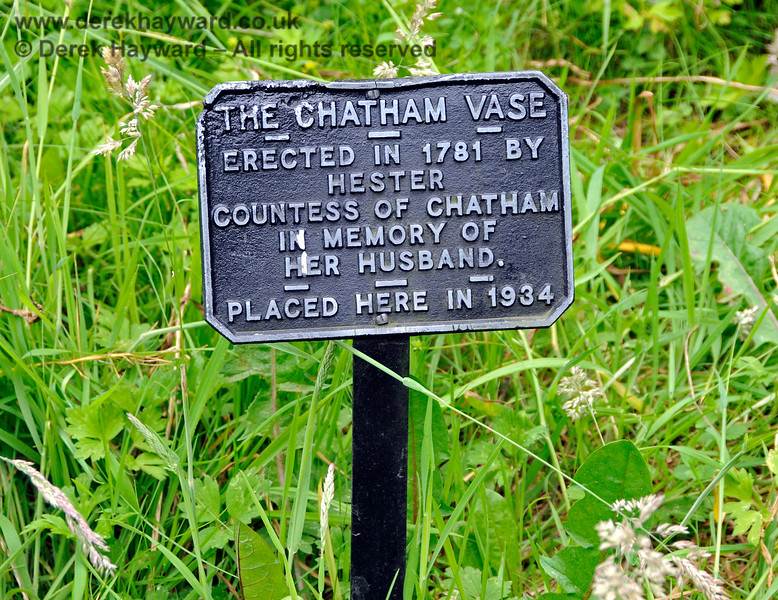The Chatham Vase.  <br /> <br /> Erected [originally at Burton Pynsent] in 1781 by Hester, Countess of Chatham in memory of her husband [William Pitt the elder].  <br /> <br /> Placed here [at Chevening] in 1934.<br /> <br /> See also detailed images below.  22.06.2014  10713