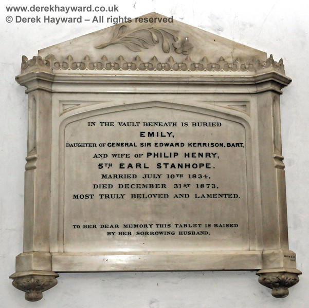 Memorial to Emily, wife of Philip Henry 5th Earl Stanhope, married July 10th 1834, died December 31st 1873.  (Formerly Emily Kerrison, daughter of General Sir Edward Kerrison, Bart.)  Stanhope Chantry (Chapel), St Botolphs Church, Chevening.  19.06.2015  12815