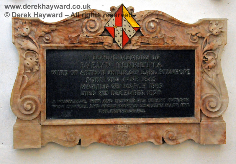 """Memorial in memory of Evelyn Henrietta, wife of Philip 6th Earl Stanhope.  Born 21st June 1845, married 2nd March 1869, died 8th December 1923.  Stanhope Chantry (Chapel), St Botolphs Church, Chevening.  19.06.2015  12824   [The inscriptions on black memorials can be read by clicking on the image and then selecting """"O"""" (Original) from the menu that appears.  This produces a very large image on which the words can be seen.]"""