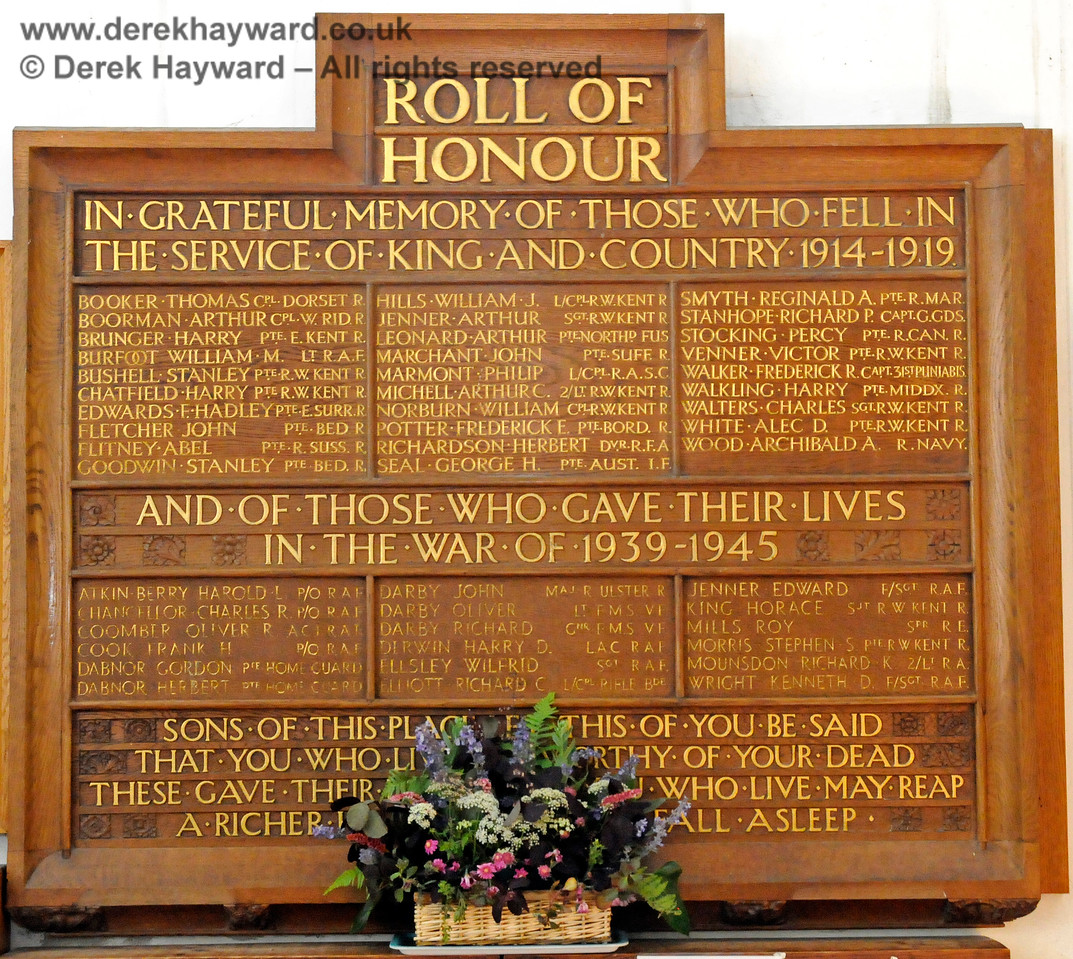 The Roll of Honour, St Botolphs Church, Chevening.  19.06.2015  12797