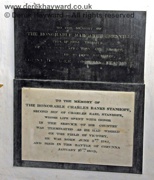 Two memorials inside the Stanhope Chantry (Chapel).  The memorial coloured black reads: To the memory of The Honorable Margaret Grenville, this humble tribute of unceasing affection and regret is erected by her daughter, Louisa Dowager Countess Stanhope.  The lower memorial is to the memory of The Honorable Charles Banks Stanhope, second son of Charles Earl Stanhope, born June 3rd 1785, and died in the battle of Corunna, January 16th 1809.  St Botolphs Church, Chevening.  19.06.2015  12812