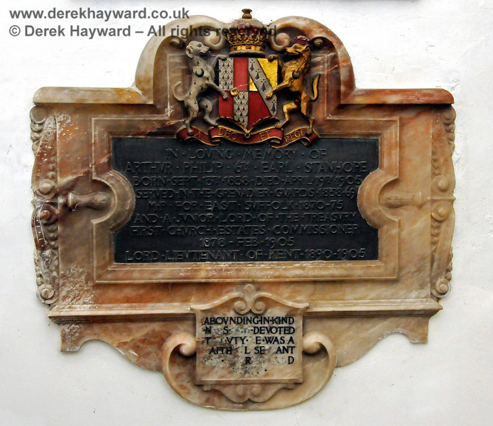 """Memorial in memory of Arthur Philip 6th Earl Stanhope, born September 13th 1838, died April 19th 1905.  Stanhope Chantry (Chapel), St Botolphs Church, Chevening.  19.06.2015  12823    [The inscriptions on black memorials can be read by clicking on the image and then selecting """"O"""" (Original) from the menu that appears.  This produces a very large image on which the words can be seen.]"""