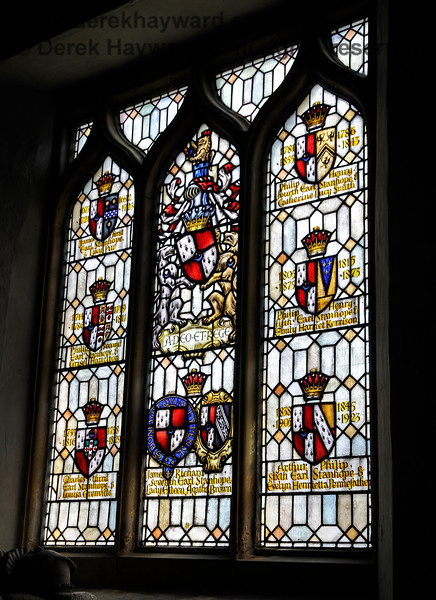 The south window inside the Stanhope Chantry (Chapel), St Botolphs Church, Chevening.  The window depicts the arms of all seven generations of Stanhopes who occupied Chevening.  19.06.2015  12807