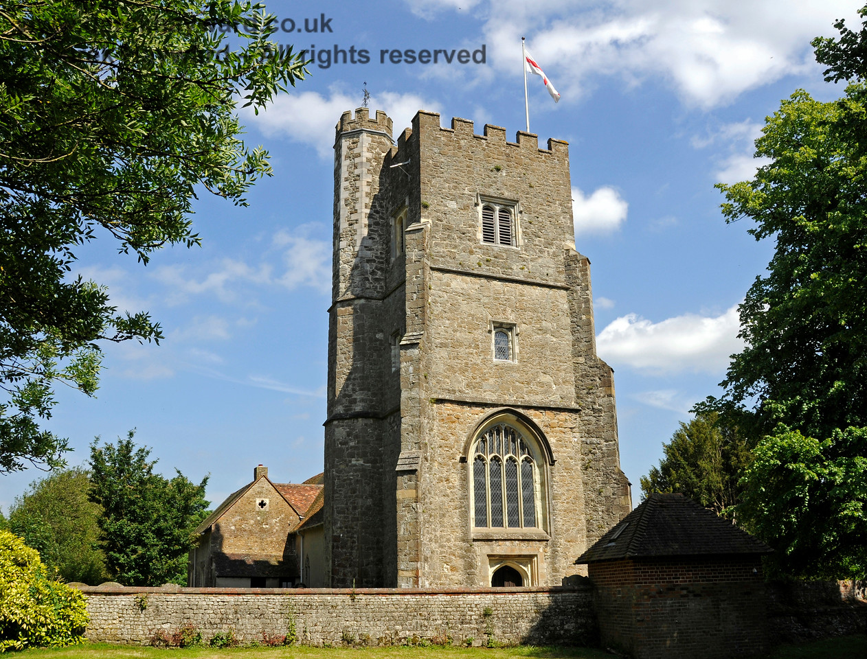 The tower of St Botolphs Church, Chevening.  On the left side of the tower is a turret containing the stairs.  19.06.2015  12894