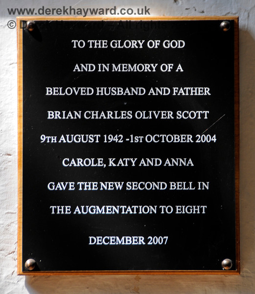 A memorial to Brian Charles Oliver Scott, which relates to the augmentation of the bells at St Botolphs Church, Chevening in 2007.  19.06.2015  12860
