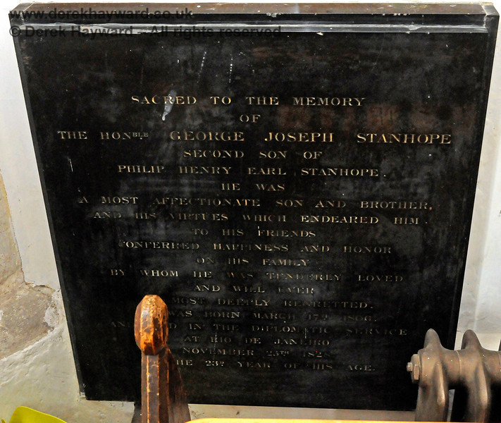 """Memorial to The Hon. George Joseph Stanhope, second son of Philip Henry Earl Stanhope.  Born March 17th 1806 and died in the Diplomatic Service at Rio De Janeiro November 25th 1828 in the 23rd year of his age.   Stanhope Chantry (Chapel), St Botolphs Church, Chevening.  19.06.2015  12832    [The inscriptions on black memorials can be read by clicking on the image and then selecting """"O"""" (Original) from the menu that appears.  This produces a very large image on which the words can be seen.]"""