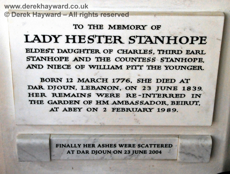 Memorial in memory of Lady Hester Stanhope, eldest daughter of Charles 3rd Earl Stanhope.  Born 12 March 1776, died at Dar Djoun, Lebanon on 23 June 1839.  Stanhope Chantry (Chapel), St Botolphs Church, Chevening.  19.06.2015  12830
