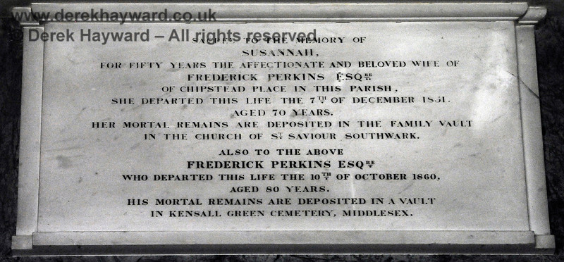 Memorial to Susannah Perkins of Chipstead Place who died on 7th December 1851, aged 70.  Also her husband Frederick Perkins who died on 10th October 1860, aged 80.  Neither is buried at the church.  St Botolphs Church, Chevening.  19.06.2015  11389