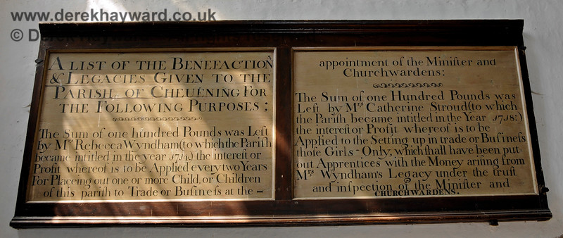 Bequest Boards at the base of the Tower of St Botolphs Church, Chevening.  19.06.2015  12856