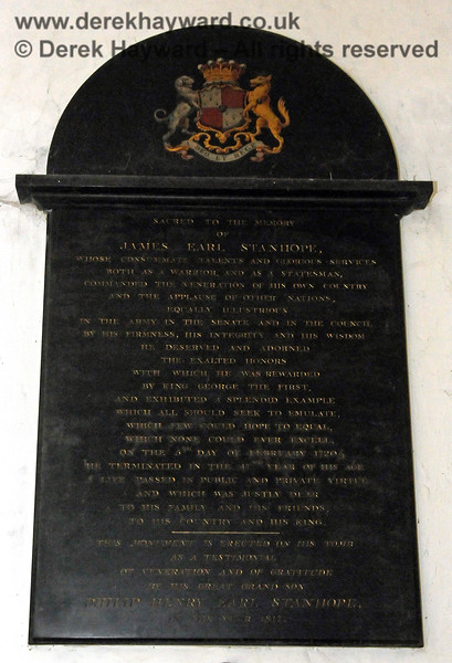 """Large memorial sacred to the memory of James Earl Stanhope, who died on 5th February 1720, aged 47.  The memorial was erected by his great grandson Philip Henry Earl Stanhope in the year 1817.  Stanhope Chantry (Chapel), St Botolphs Church, Chevening.  19.06.2015  12816  [The inscriptions on black memorials can be read by clicking on the image and then selecting """"O"""" (Original) from the menu that appears.  This produces a very large image on which the words can be seen.]"""