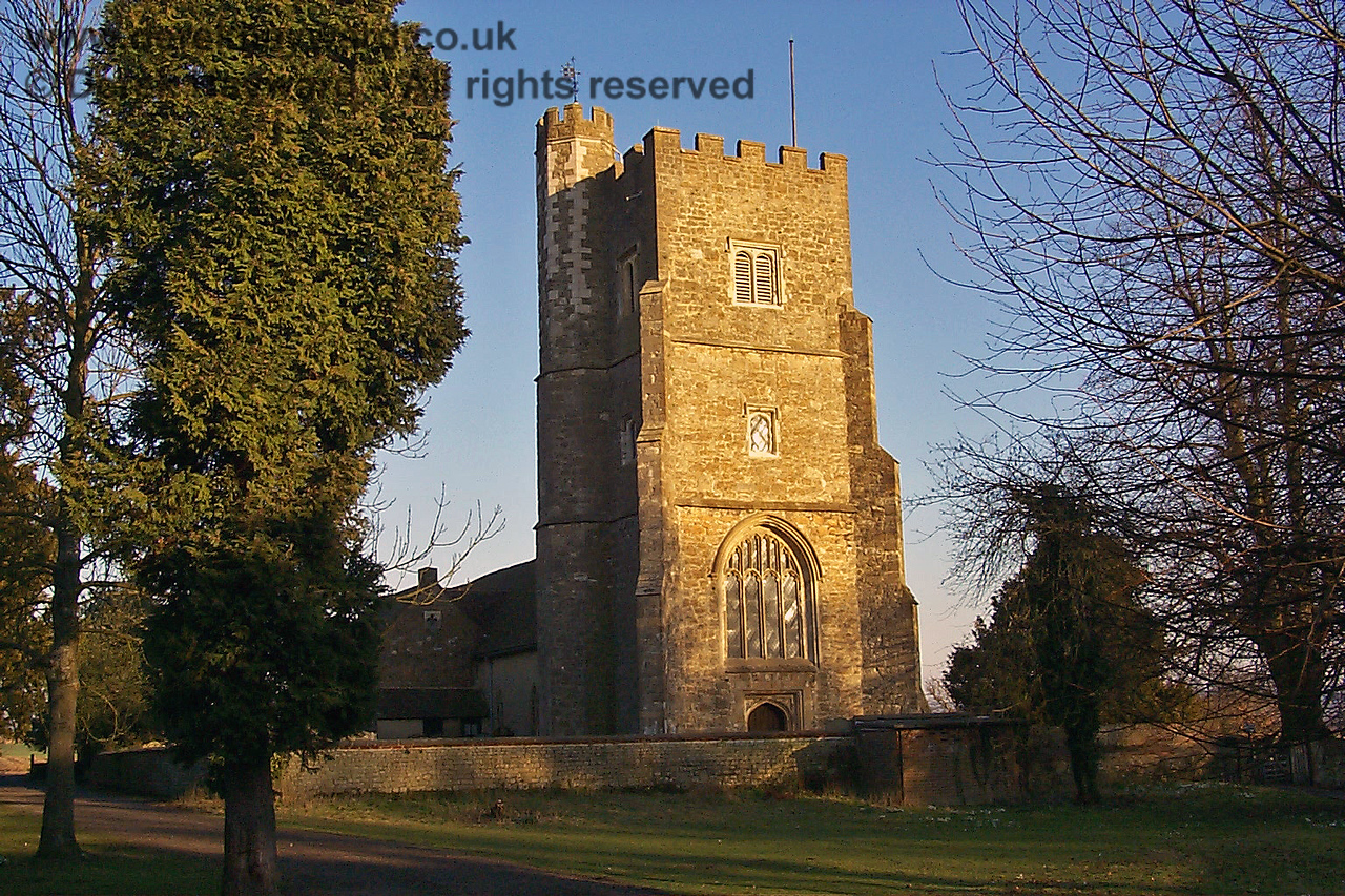 St Botolphs Church, Chevening, in the evening light, on 13.02.1999