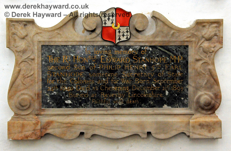 Memorial in memory of The Rt. Hon. Edward Stanhope MP, second son of Philip Henry 5th Earl Stanhope.  Born September 24th 1840, died at Chevening December 21st 1893.  Buried at Revesby, Lincolnshire.  Stanhope Chantry (Chapel), St Botolphs Church, Chevening.  19.06.2015  12822